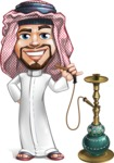 Middle Eastern Man Cartoon Vector Character AKA Faysal the Decisive - Hookah