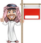 Middle Eastern Man Cartoon Vector Character AKA Faysal the Decisive - Sale