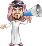 Middle Eastern Man Cartoon Vector Character AKA Faysal the Decisive - Laudspeaker