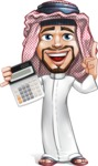 Middle Eastern Man Cartoon Vector Character AKA Faysal the Decisive - Calculator