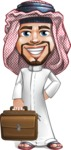 Middle Eastern Man Cartoon Vector Character AKA Faysal the Decisive - Briefcase