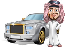 Middle Eastern Man Cartoon Vector Character AKA Faysal the Decisive - Car