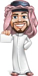 Middle Eastern Man Cartoon Vector Character AKA Faysal the Decisive - Sign 1