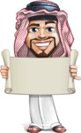 Middle Eastern Man Cartoon Vector Character AKA Faysal the Decisive - Sign 2