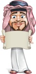 Middle Eastern Man Cartoon Vector Character AKA Faysal the Decisive - Sign 3