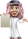Middle Eastern Man Cartoon Vector Character AKA Faysal the Decisive - Sign 4