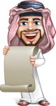 Middle Eastern Man Cartoon Vector Character AKA Faysal the Decisive - Sign 5