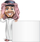 Middle Eastern Man Cartoon Vector Character AKA Faysal the Decisive - Sign 6