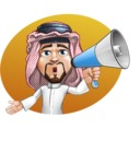 Middle Eastern Man Cartoon Vector Character AKA Faysal the Decisive - Shape 3