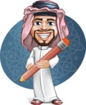 Middle Eastern Man Cartoon Vector Character AKA Faysal the Decisive - Shape 8