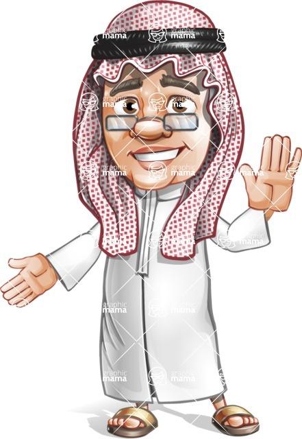Saudi Arab Man Cartoon Vector Character AKA Wazir the Advisor - Hello