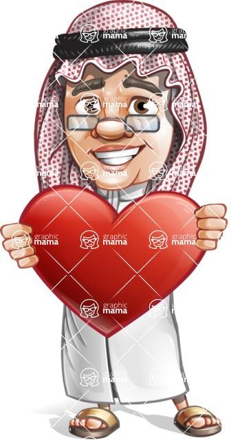 Saudi Arab Man Cartoon Vector Character AKA Wazir the Advisor - Love