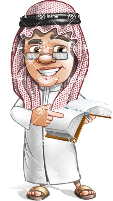 Saudi Arab Man Cartoon Vector Character AKA Wazir the Advisor - Book 1