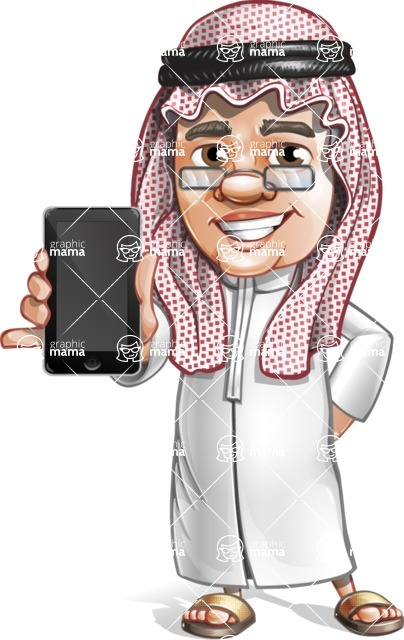 Saudi Arab Man Cartoon Vector Character AKA Wazir the Advisor - iPhone