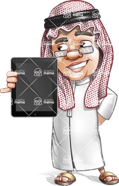 Saudi Arab Man Cartoon Vector Character AKA Wazir the Advisor - iPad 1