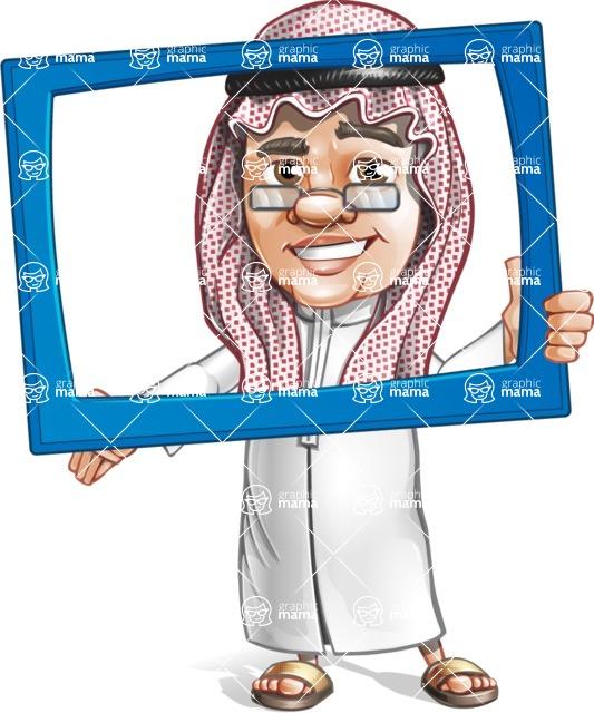 Saudi Arab Man Cartoon Vector Character AKA Wazir the Advisor - Frame
