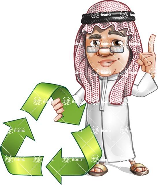 Saudi Arab Man Cartoon Vector Character AKA Wazir the Advisor - Recycling