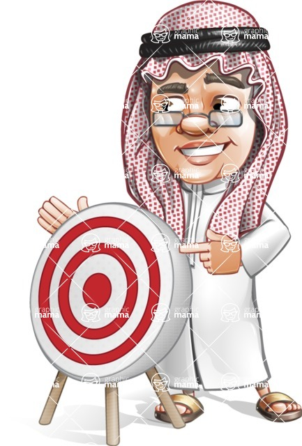 Saudi Arab Man Cartoon Vector Character AKA Wazir the Advisor - Target