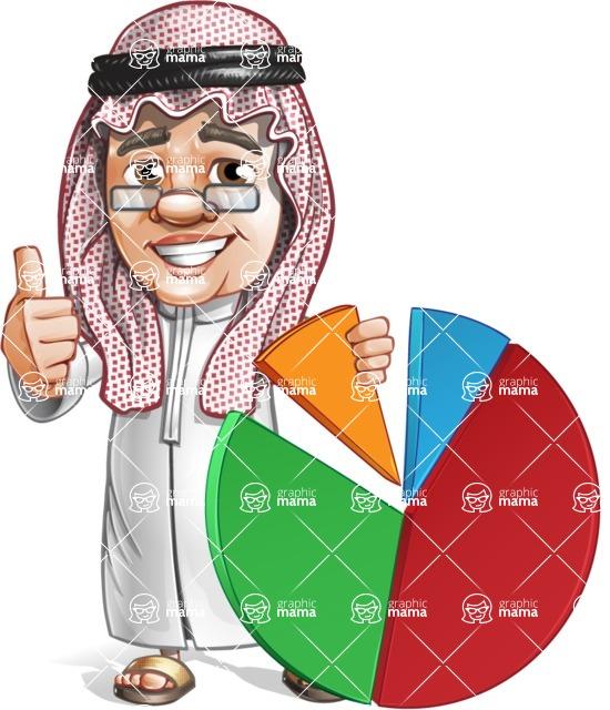 Saudi Arab Man Cartoon Vector Character AKA Wazir the Advisor - Chart