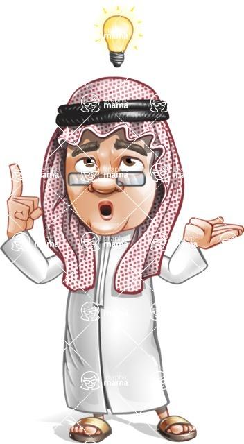 Saudi Arab Man Cartoon Vector Character AKA Wazir the Advisor - Idea