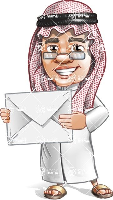 Saudi Arab Man Cartoon Vector Character AKA Wazir the Advisor - Letter