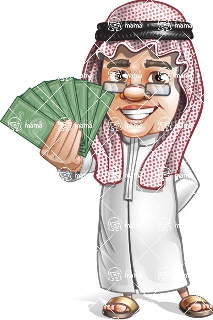Saudi Arab Man Cartoon Vector Character AKA Wazir the Advisor - Show me the money