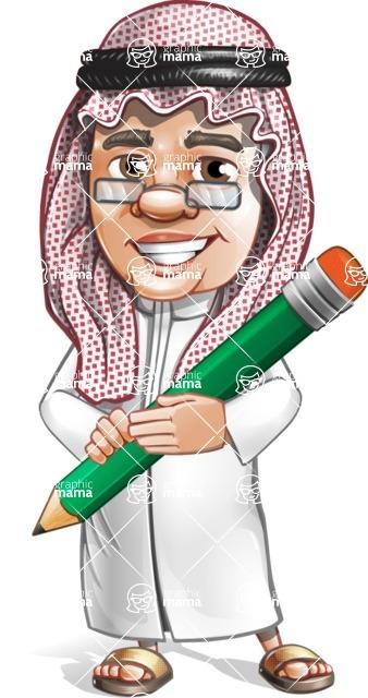 Saudi Arab Man Cartoon Vector Character AKA Wazir the Advisor - Pen