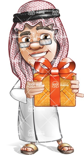 Saudi Arab Man Cartoon Vector Character AKA Wazir the Advisor - Gift