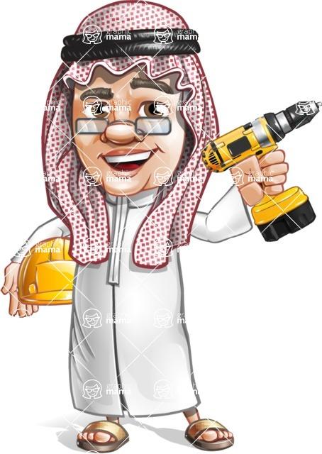 Saudi Arab Man Cartoon Vector Character AKA Wazir the Advisor - Under Construction