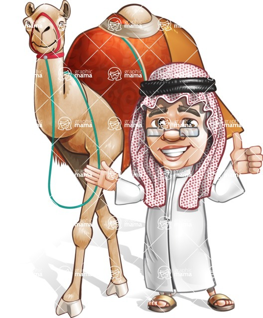 Saudi Arab Man Cartoon Vector Character AKA Wazir the Advisor - Camel