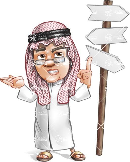 Saudi Arab Man Cartoon Vector Character AKA Wazir the Advisor - Crossword