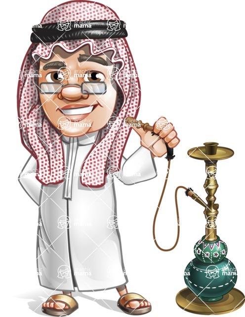 Saudi Arab Man Cartoon Vector Character AKA Wazir the Advisor - Hookah