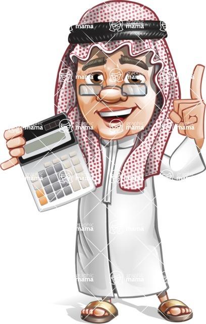Saudi Arab Man Cartoon Vector Character AKA Wazir the Advisor - Calculator
