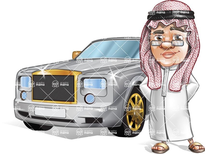 Saudi Arab Man Cartoon Vector Character AKA Wazir the Advisor - Car