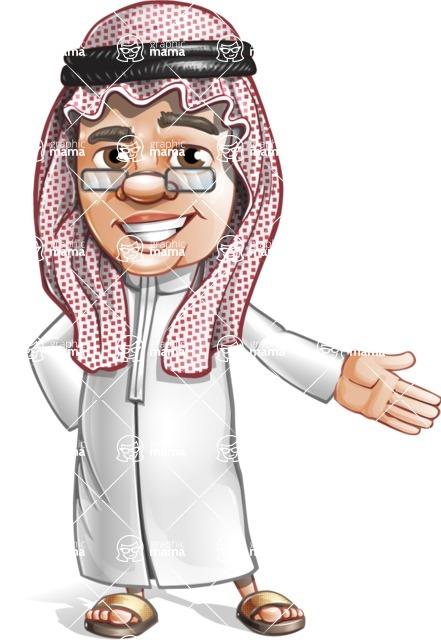 Saudi Arab Man Cartoon Vector Character AKA Wazir the Advisor - Show