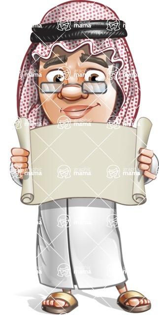 Saudi Arab Man Cartoon Vector Character AKA Wazir the Advisor - Sign 3
