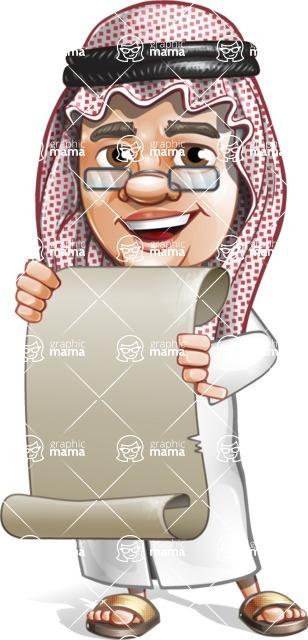 Saudi Arab Man Cartoon Vector Character AKA Wazir the Advisor - Sign 5