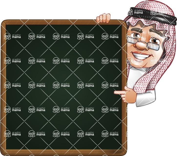 Saudi Arab Man Cartoon Vector Character AKA Wazir the Advisor - Presentation 2