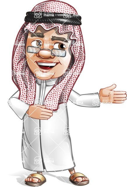 Saudi Arab Man Cartoon Vector Character AKA Wazir the Advisor - Show 2