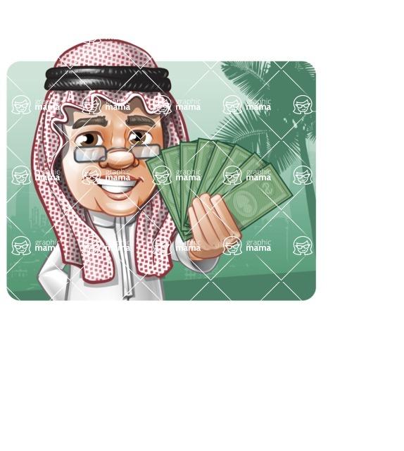 Saudi Arab Man Cartoon Vector Character AKA Wazir the Advisor - Shape 1