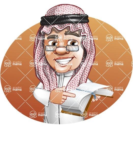 Saudi Arab Man Cartoon Vector Character AKA Wazir the Advisor - Shape 3