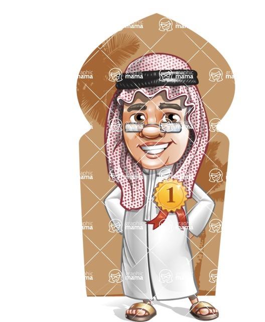 Saudi Arab Man Cartoon Vector Character AKA Wazir the Advisor - Shape 6