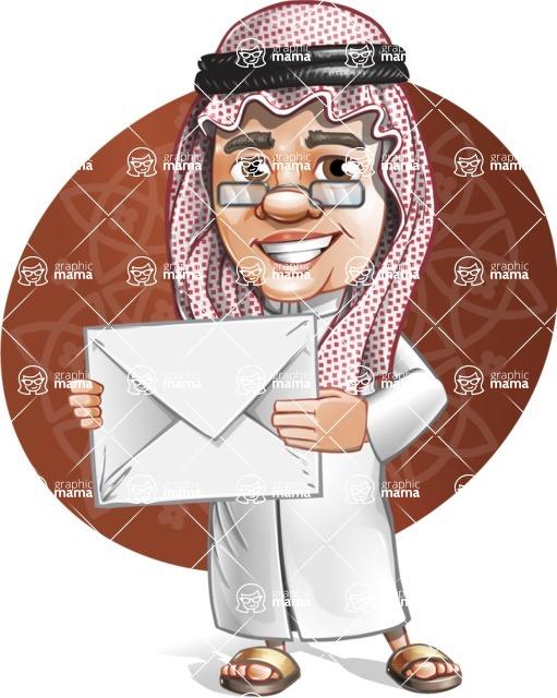 Saudi Arab Man Cartoon Vector Character AKA Wazir the Advisor - Shape 8