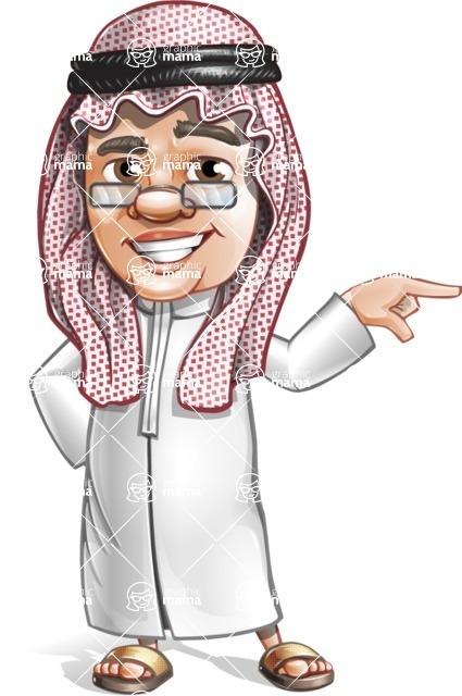 Saudi Arab Man Cartoon Vector Character AKA Wazir the Advisor - Point