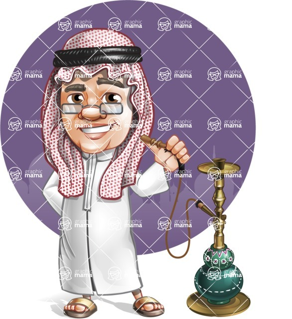Saudi Arab Man Cartoon Vector Character AKA Wazir the Advisor - Shape 11