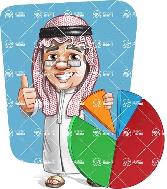Saudi Arab Man Cartoon Vector Character AKA Wazir the Advisor - Shape 12