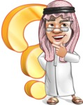 Saudi Arab Man Cartoon Vector Character AKA Wazir the Advisor - Question