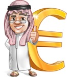 Saudi Arab Man Cartoon Vector Character AKA Wazir the Advisor - Euro