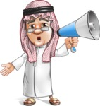 Saudi Arab Man Cartoon Vector Character AKA Wazir the Advisor - Laudspeaker