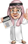 Saudi Arab Man Cartoon Vector Character AKA Wazir the Advisor - Calculator